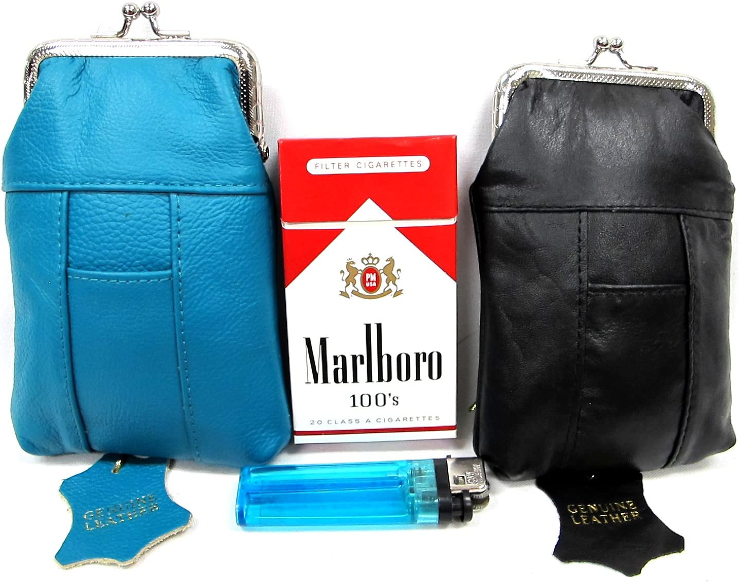 Leather Cigarette Case 2pc Set Genuine Max 44% OFF Year-end gift + Green Pouch Teal Black
