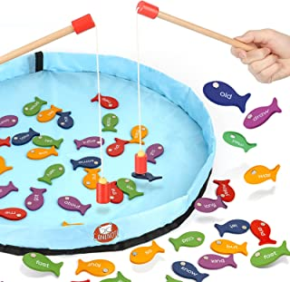 Gamenote Sight Words Wooden Magnetic Fishing Game - 220 Dolch Word with 2 Magnet Poles for Kindergarten Preschool Children...