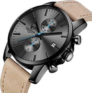 Men's Fashion Sport Quartz Watches with Leather Strap...