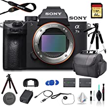 Sony Alpha a7 III Full-Frame Mirrorless Digital Camera (Body Only) Bundle - with Bag, Tripod, Extra Battery, 64GB Memory Card, Memory Card Reader and More.