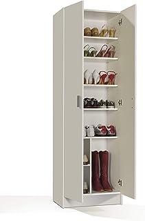 Habitdesign 007146O - Armario zapatero multiusos, armario auxiliar color Blanco, dimensiones 180 x 59 x 37 cm de fondo