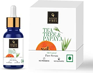Good Vibes Tea Tree & Papaya Oil Control Face Serum, 10 ml Light Weight Absorbs Quickly Clarifying Formula For Oily Skin T...