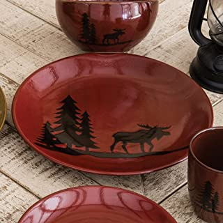 Black Forest Décor Moose and Bear Lodge Stoneware Moose Dinner Plate