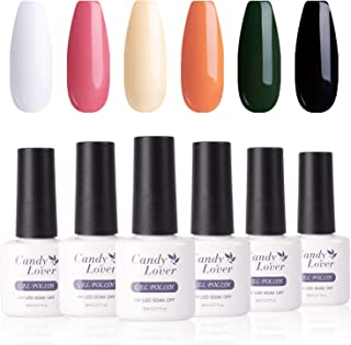 Candy Lover Popular Gel Nail Polish, Holiday Seasons Orange Green Red Pastel Halloween Christmas UV LED Selected 6 Fall Colors Set - Soak Off Nail Gel Polish Home Manicure Varnish Autumn Kit