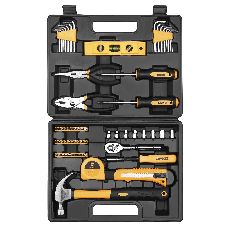 Juego de herramientas de 65 piezas DEKO Kit de herramientas de mano para el hogar en general con caja de almacenamiento de plástico: Amazon.es: Bricolaje y herramientas