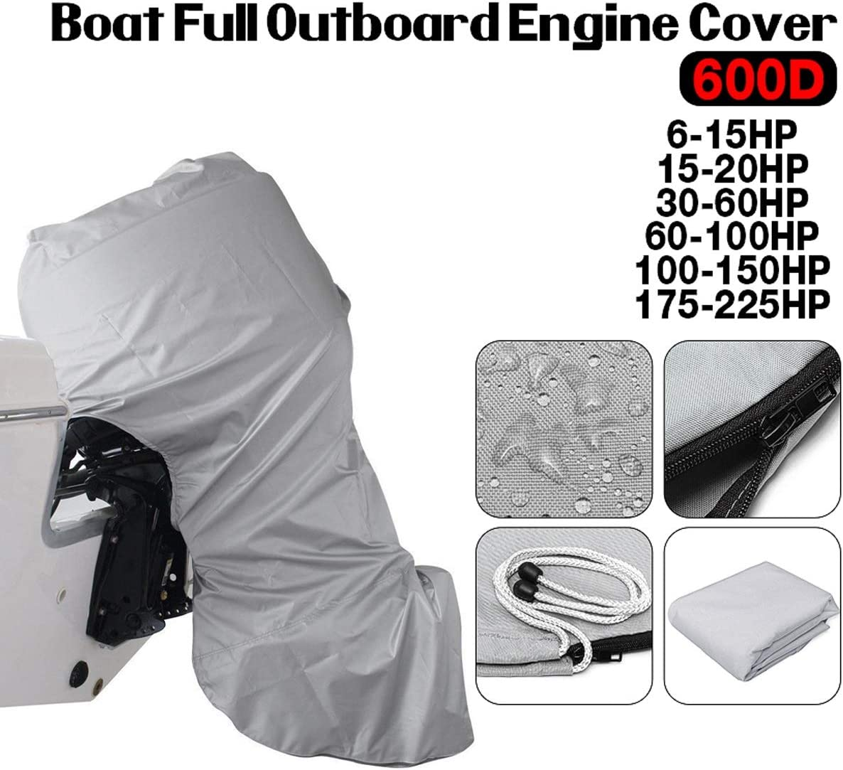 7 Sizes Full Motor Cover Waterproof Black 600D Boat Full Outboard Engine Cover