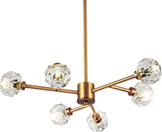 SEOL-LIGHT Retro Brass Sputnik Crystal Ball Shade Semi Close to Ceiling Light Flush Mounted Branches Chandeliers Polished Gold with 6 Light 240W Small Size 22