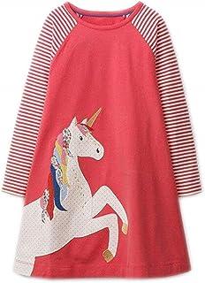 فستان RoCoos للفتيات الصغار بأكمام طويلة مزخرف من القطن فساتين كاجوال (بطريق.