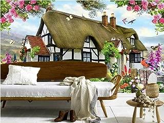 Kecoci 3D Wallpaper Gorgeous Pastoral English Country Cottage Rose Garden Children's Room Tv Backdrop Mural-128Cmx100Cm