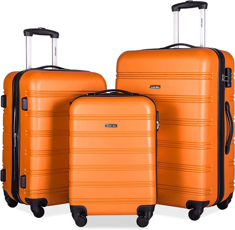 Merax Travelhouse Luggage 3 Ranking TOP14 Piece Sale Special Price Expandable Spinner Orange Set