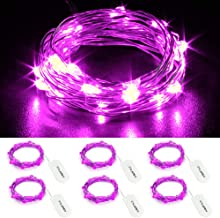 CYLAPEX 6 Pack Purple Fairy Lights Battery Operated String Lights Firefly Lights Micro Moon LED Starry String Lights on 3.3ft/1m Silvery Copper Wire for DIY Christmas Decoration Costume Wedding Party