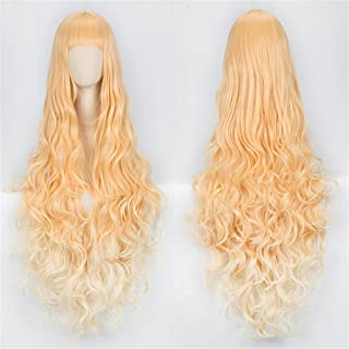 Anime Long Curly Wavy Orange Yellow Cosplay Wig Women Girls' Synthetic Party Wigs