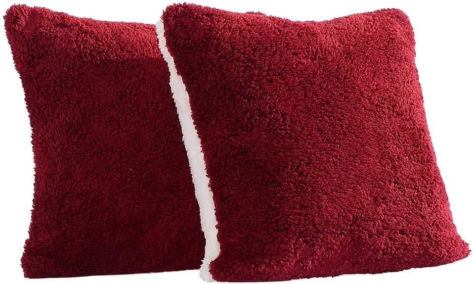 Panku Sherpa Pillow Cover Super Soft Pillow Case 2 Pack with Zipper Closure 20X20, Burgundy//White