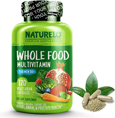 NATURELO Whole Food Multivitamin for Men 50+ - with Natural Vitamins, Minerals, Organic Extracts - Vegan Vegetarian -...