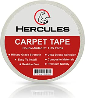 Carpet Tape Double Sided, 35 yd. X 2 in. Military Grade Strength, Voted by Professionals as The Strongest in The Market, Read Our Reviews, Longer Stronger & More Durable, by Hercules