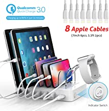Soopii Quick Charge 60W/12A 6-Port USB Charging Station Organizer for Multiple Devices, 8 Apple Cables Included, I Watch Holder,for Phones, Tablets, Other Electronics (6 Port/60W/QC3.0/8 Apple Cables)