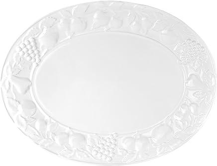 Preisvergleich für Van Well Serie Steingut Platten, Servierplatten, Schlemmerplatten Porzellan - Verschiedene Größen wählbar, Platte Früchterelief