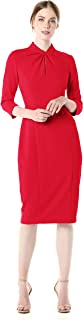 Women's Stretch Crepe 3/4 Sleeve Twisted Neckline Sheath Dress