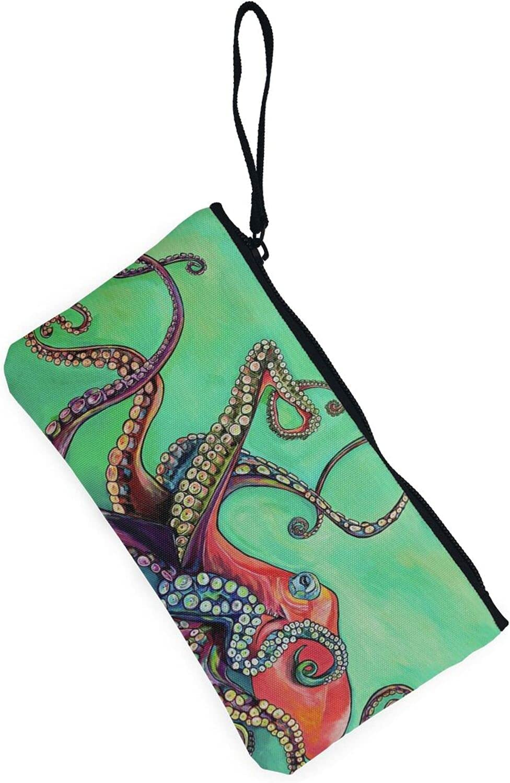AORRUAM Cute Octopus Canvas Coin Purse,Canvas Zipper Pencil Cases,Canvas Change Purse Pouch Mini Wallet Coin Bag