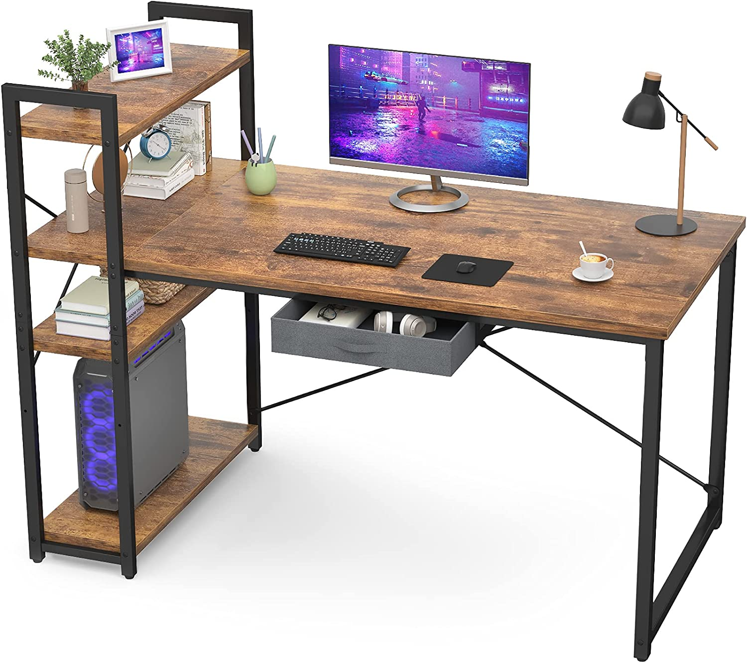 Armocity Computer Desk with Storage Shelves 47 Inch Desk with Storage Drawers 2 Person Desk with Reversible Bookshelves Industrial Study Writing Table for Home Office Workstation Small Space, Vintage