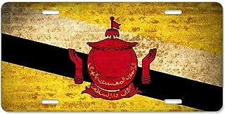 Kefanlk Retro Flags Brunei License Plate Frame Theft-proof Frames Aluminum Board Frames For Men Women