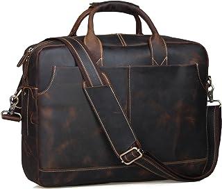 "Berchirly Large Vintage Crazy Horse Genuine Leather Messenger Crossbody Shoulder Bag Tote - Fits Laptops up to 15.6"""