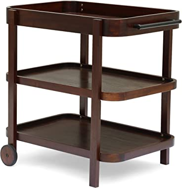 Christopher Knight Home 306568  Morse Bar Cart 3-Tiers Solid Acacia Wood Brown Mahogany Finish