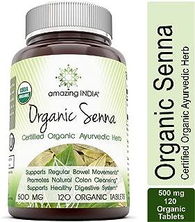 Amazing India USDA Certified Organic Senna 500 Mg 120 Veggie Tablets (Non-GMO) - Raw, Vegan- Gluten-Free – Promotes Regularity, Digestive Health, Detoxification & Overall Well-Being*