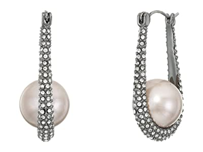 Vince Camuto Small Pave Hoop Earrings (Hematite/Crystal/Light Gray Pearl) Earring