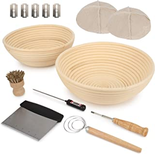 "Duboché Bread Proofing Basket 2Pack - Round 9"" & 10"" Banneton Basket Bowls for Sourdough, Gluten-Free and Traditional Doug..."
