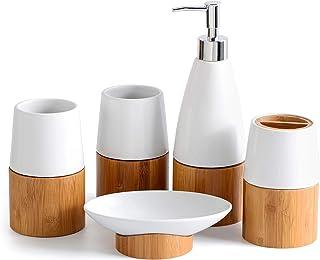 Set Accessoire Salle de Bain Bambou Céramique Blanc, Ensemble Design, Articles Bois Naturel, 2 gobelets, Verre Brosse à De...