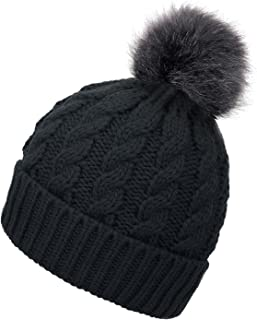 EPGM Men & Women's Winter Cable Knit Faux Fur Pom Pom Foldable Cuff Beanie Hat