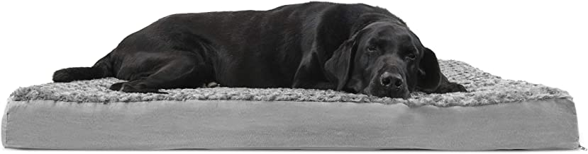 Furhaven Pet Dog Bed   Deluxe Orthopedic Traditional Mat Rectangular Step-On Foam Mattress Pet Bed w/ Removable Cover for Dogs & Cats - Available in Multiple Colors & Styles