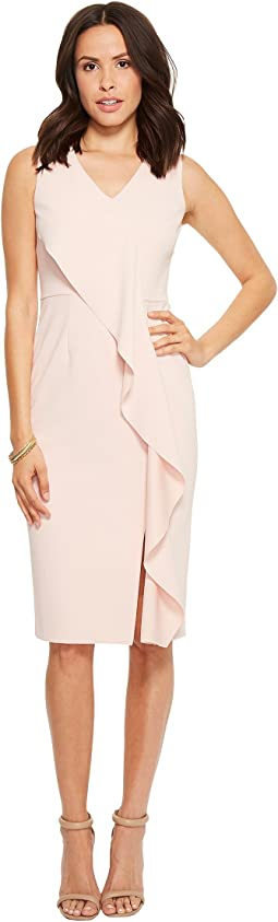 Ivanka Trump - Scuba Crepe V-Neck Sleeveless Ruffle Front Dress