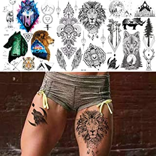Black Henna Temporary Tattoos For Men Sticker Tribal Lion Mandala Flower Sexy Tatoos Body Art Arm Waist Custom Tattoo 21X15Cm