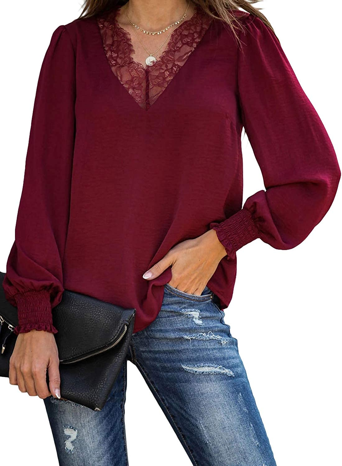 Acelitt Womens Casual Long Sleeve New arrival Lace Neck V Max 72% OFF Tunic Trim Blouse