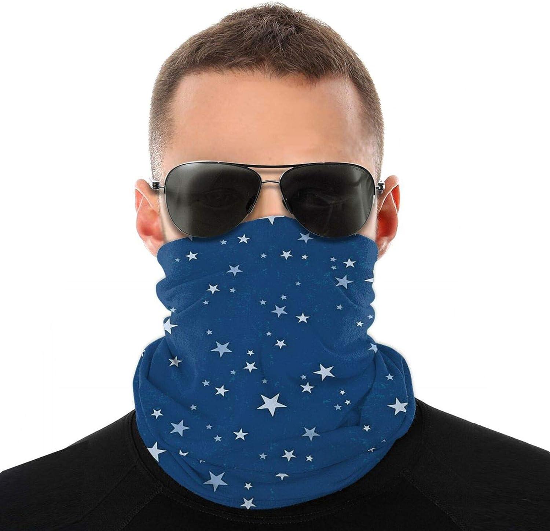 Men Women Unisex Blue Stars Neck Gaiter Face Mask Reusable, Headband Washable Bandana Face Mask, Sun Dust Protection Cover Balaclava Scarf Shield