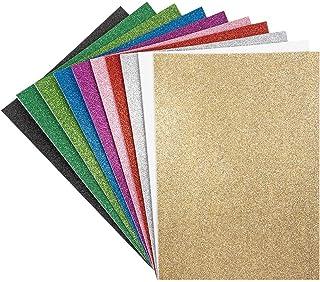 Lot de 10 feuilles de caoutchouc mousse avec paillettes | autocollants | DIN A4 | 2 mm | Mousse de bricolage, plaques EVA...