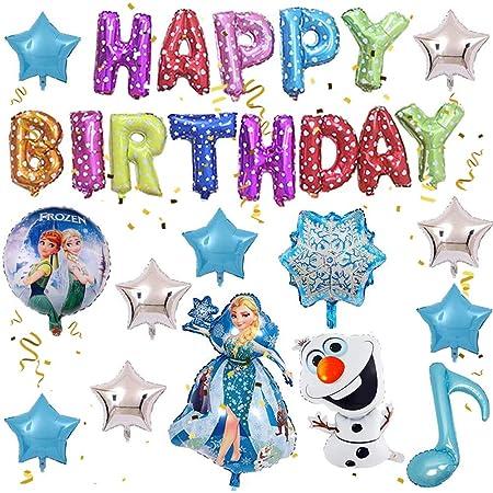 Globos Congelados, FANDE Decoración de Fiesta de Cumpleaños de Niña, Globos de Fiesta Azul, Globos de Papel de Aluminio, Globos de Látex, Decoración de Fondo de Fiesta, Pancartas de Cumpleaños