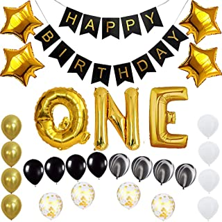Baby Happy 1st Birthday Banner Balloons Set for One Year Old 12 Months Birthday Party Decoration Supplies Gold Black (one)