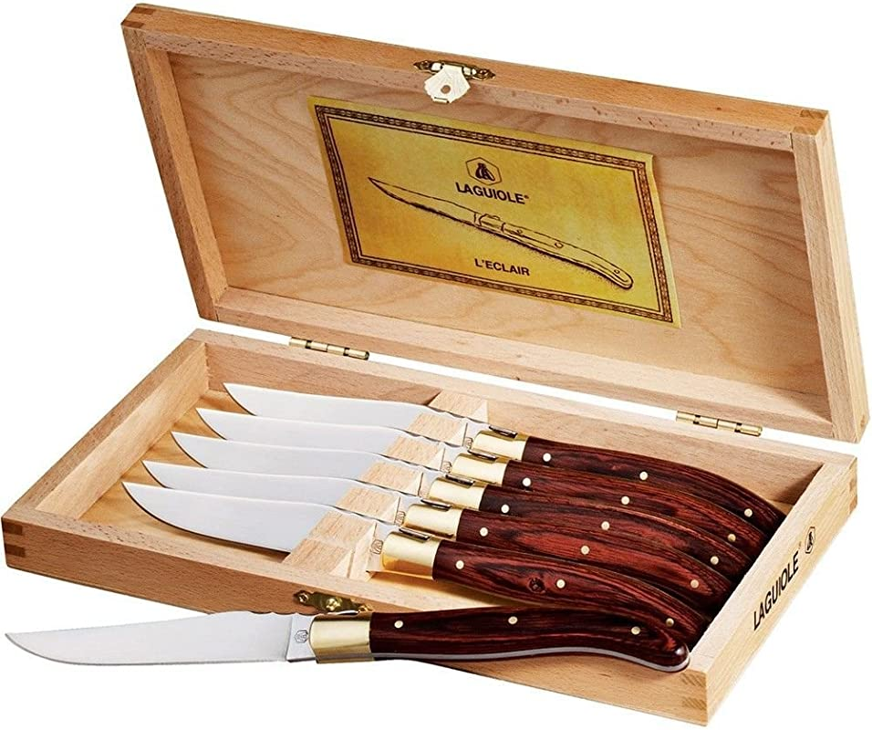 Laguiole 6 Piece Steak Stainless Steel Knife Set In Wooden Case