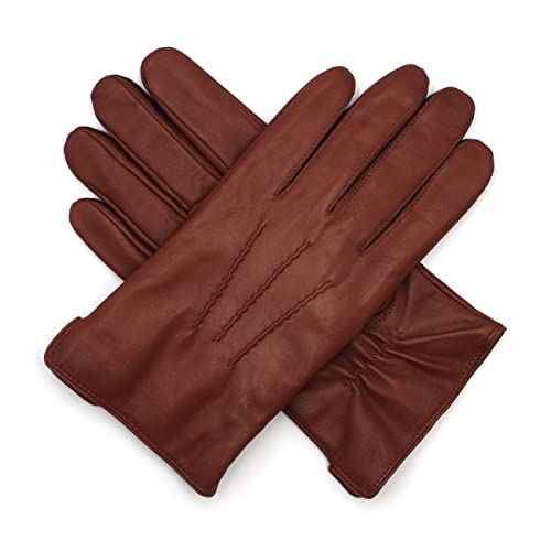 bb3550692a474 Harssidanzar Mens Luxury Italian Sheepskin Leather Gloves Vintage Finished  Cashmere Wool Lined