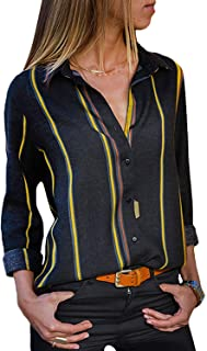 MISSLOOK Women's Stripes Button Down Shirts Roll-up Sleeve Tops V Neck Casual Work Blouses