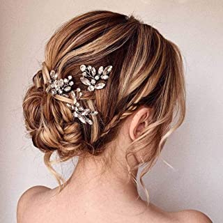 Unicra Bride Wedding Crystal Hair Pins Flower Bridal Hair Pieces Wedding Hair Accessories for Women and Girls Pack of 3 (Silver)