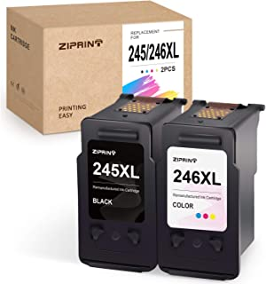 Ziprint Remanufactured Ink Cartridge Replacement for Canon PG-245XL CL-246XL 245XL 246XL use for Pixma MG2522 MG3022 MG2520 MG2922 MX492 MX490 TR4520 TS3122 TS3120 Printer (Black, Tri-Color, 2-Pack)