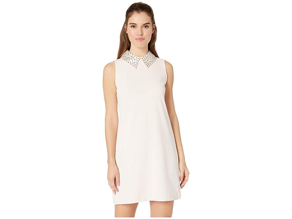 Betsey Johnson Embellished Collar Shift Dress (Almond) Women