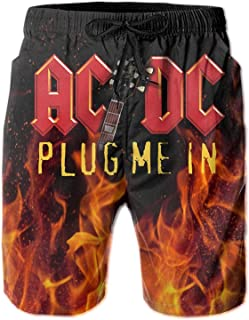 Hengtaichang ACDC Plug Me in Beach Shorts Men Quick Dry Board Shorts Casual Beach Swim Trunks Pockets