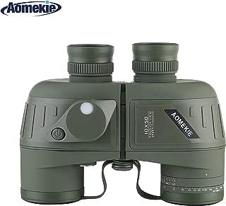 Aomekie Top Grade Army Green Military 7x50 HD Zoom Marine Binoculars BAK4 Wide View Bearing Compass Rangefinder Telescope Waterproof