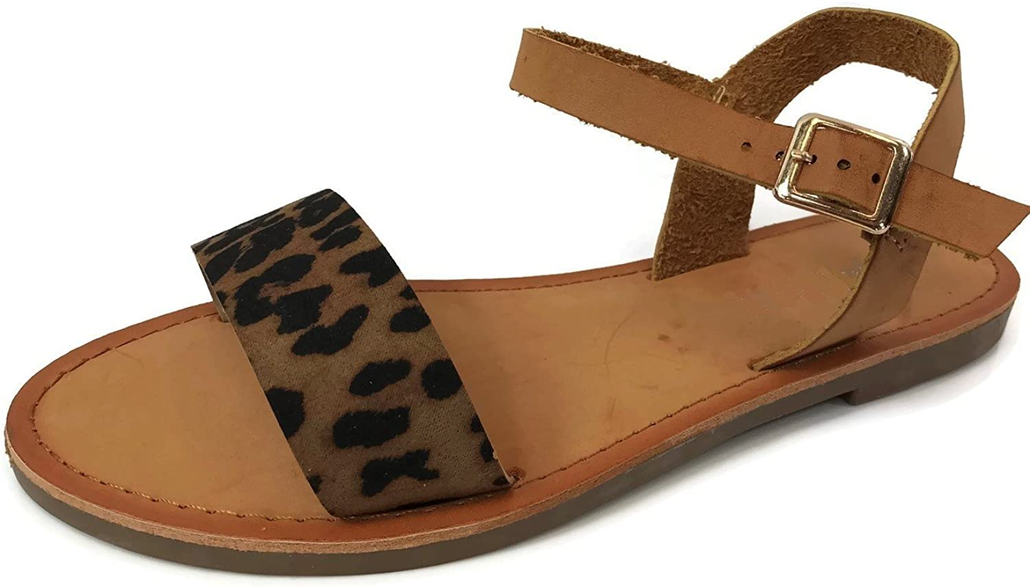 Wells Collection Womens ANIBEL Over The Toe Single Strap Sandal Flat with Ankle Wrap
