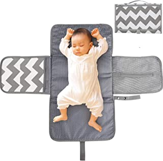 Portable Nappy Changing Mat, TERSELY Diaper Changing Pad with Head Cushion Pockets, Waterproof Foldable Infant Baby Changi...